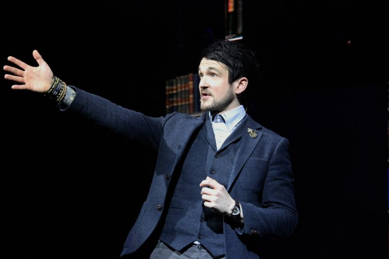 "Colin Cloud, also known as ""The Deductionist"" points to an audience member to participate in his upcoming trick."